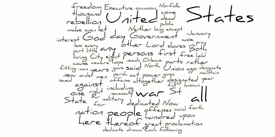 Abraham Lincoln Photograph - Gettysburg Address-emancipation Proclamation-second Inaugural Address-word Cloud by David Bearden