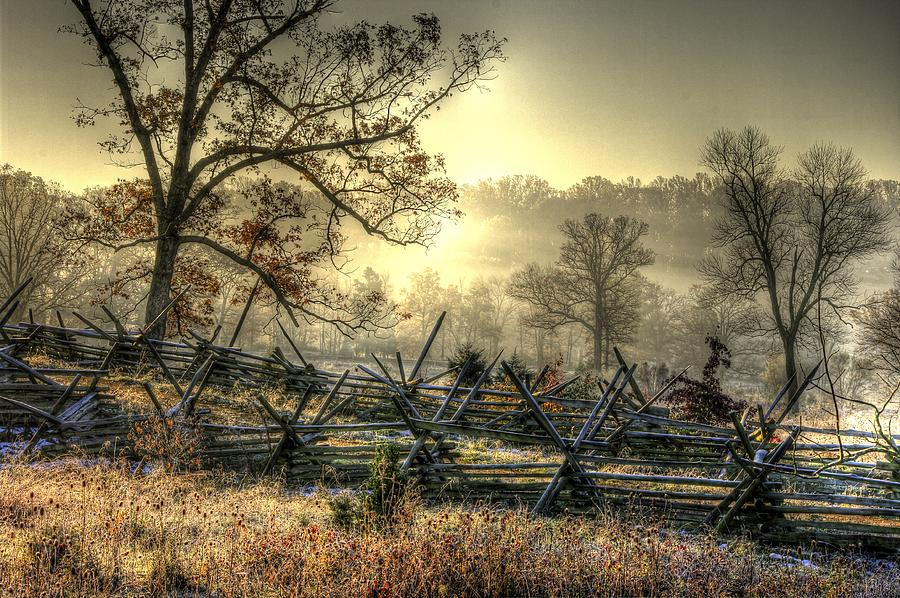 Civil War Photograph - Gettysburg At Rest - Sunrise Over Northern Portion Of Little Round Top by Michael Mazaika
