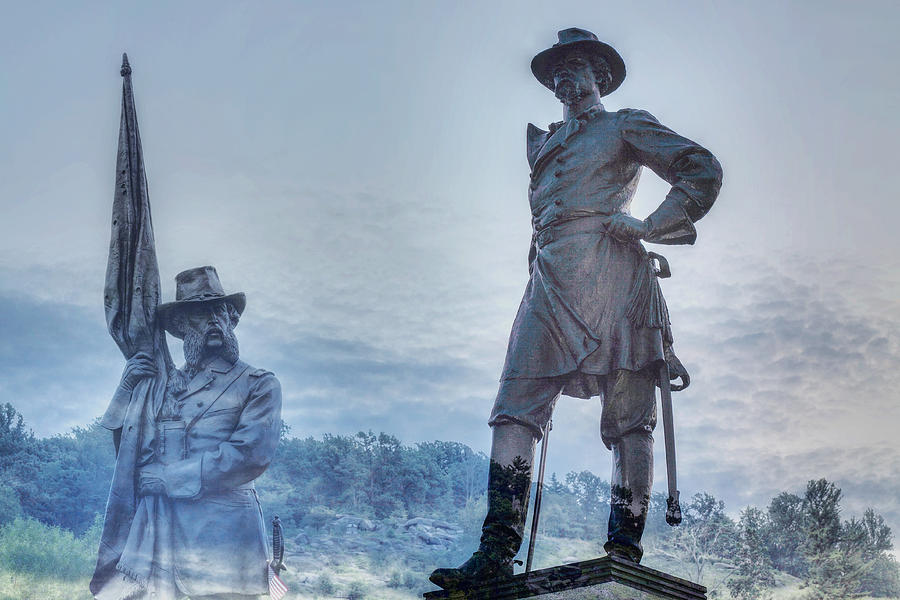 Little Round Top Digital Art - Gettysburg Battlefield Statues by Randy Steele