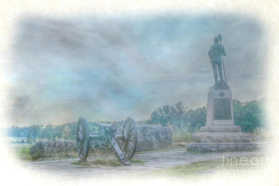 Statue Digital Art - Gettysburg Devils Den Cannon by Randy Steele