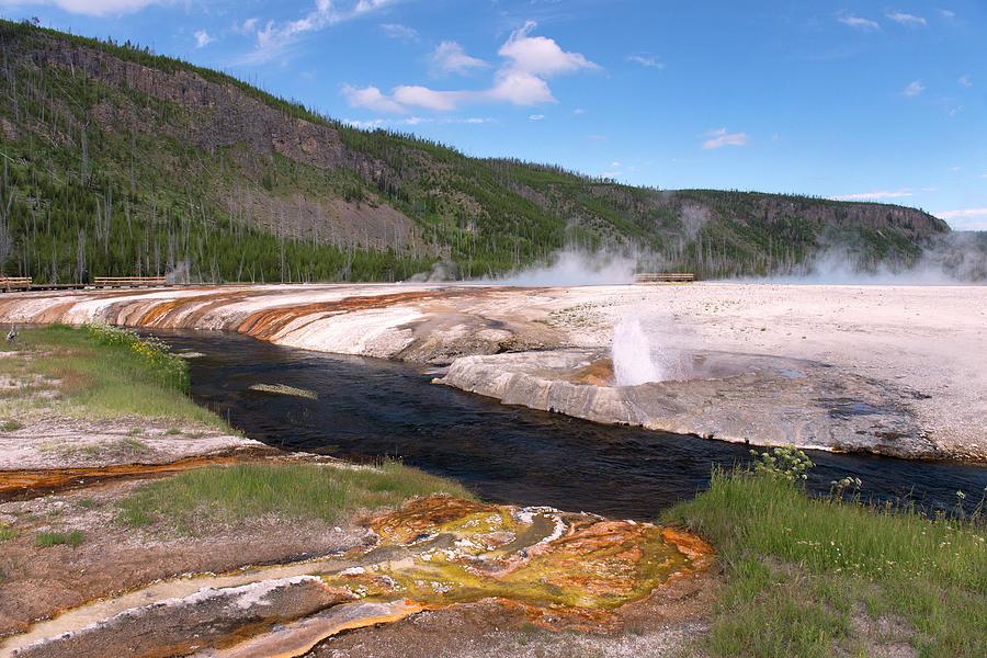 Geysers & The River At Yellowstone Photograph by Gail Shotlander