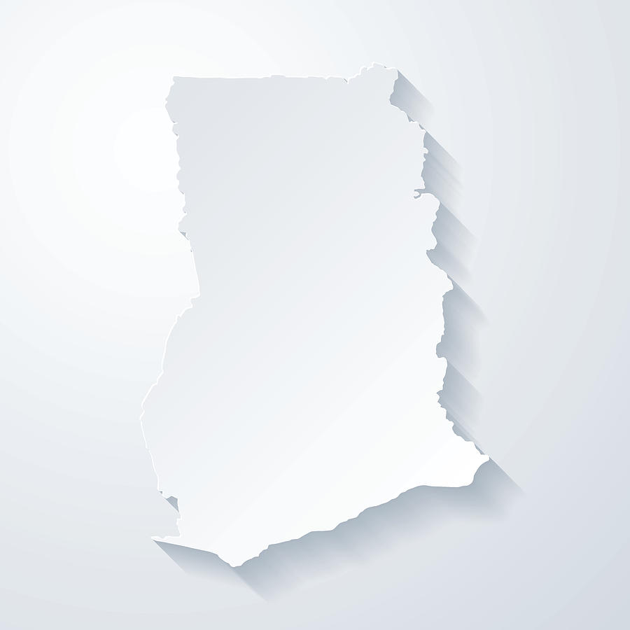 Ghana map with paper cut effect on blank background Drawing by Bgblue