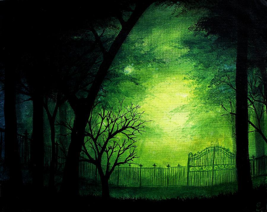 Halloween Painting - Ghastly Gate by Erin Scott