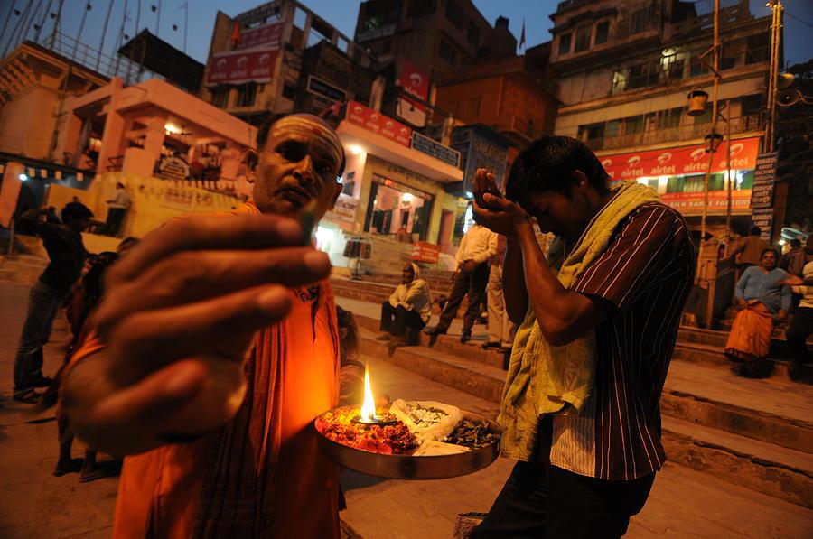 Varanasi Photograph - Ghat Priest by Money Sharma