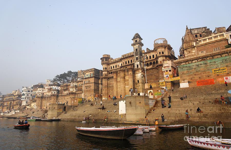Varanasi Photograph - Ghats And Boats On The River Ganges At Varanasi In India by Robert Preston
