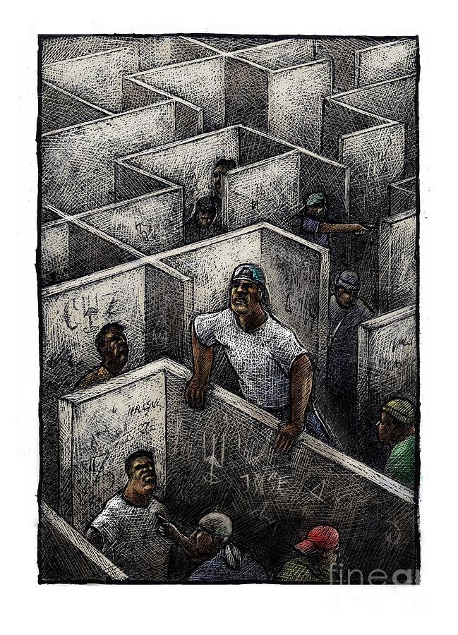 Black Men Drawing - Ghetto by Chris Van Es