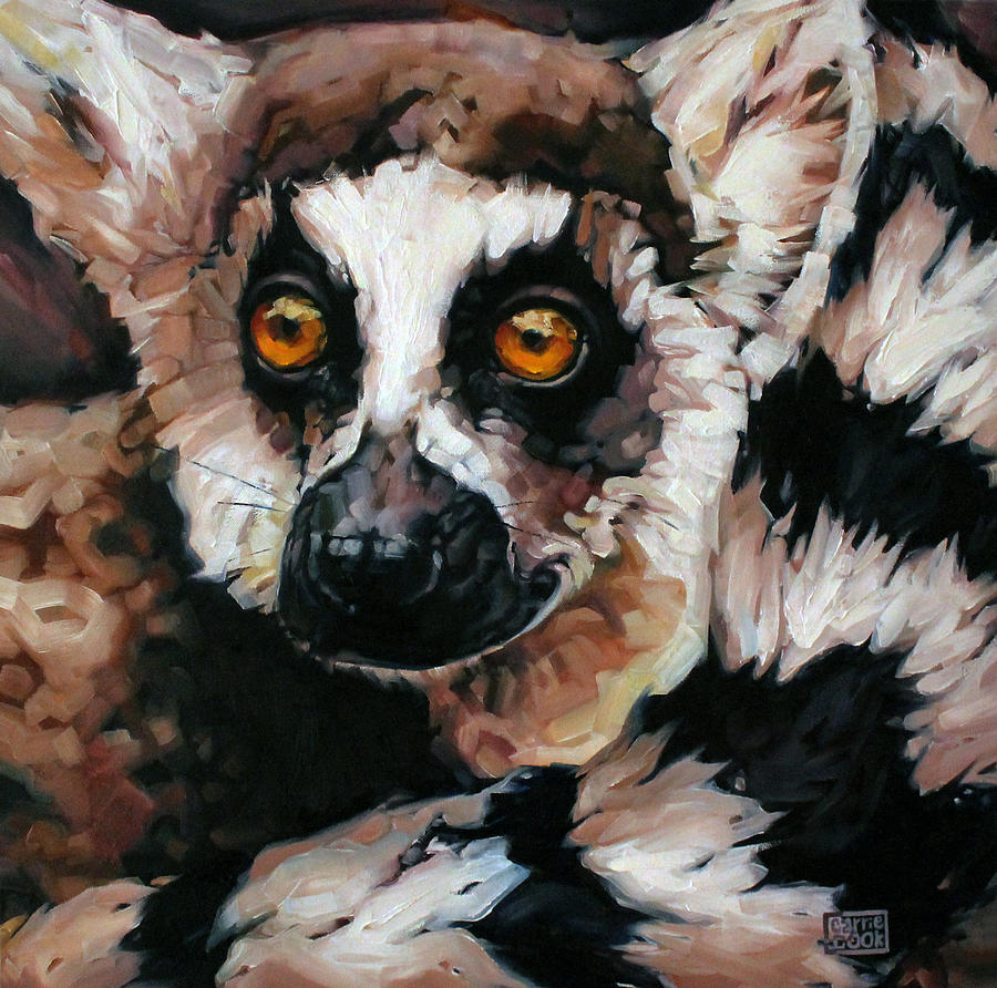 Ring-tailed Painting - Ghost Of Madagascar by Carrie Cook
