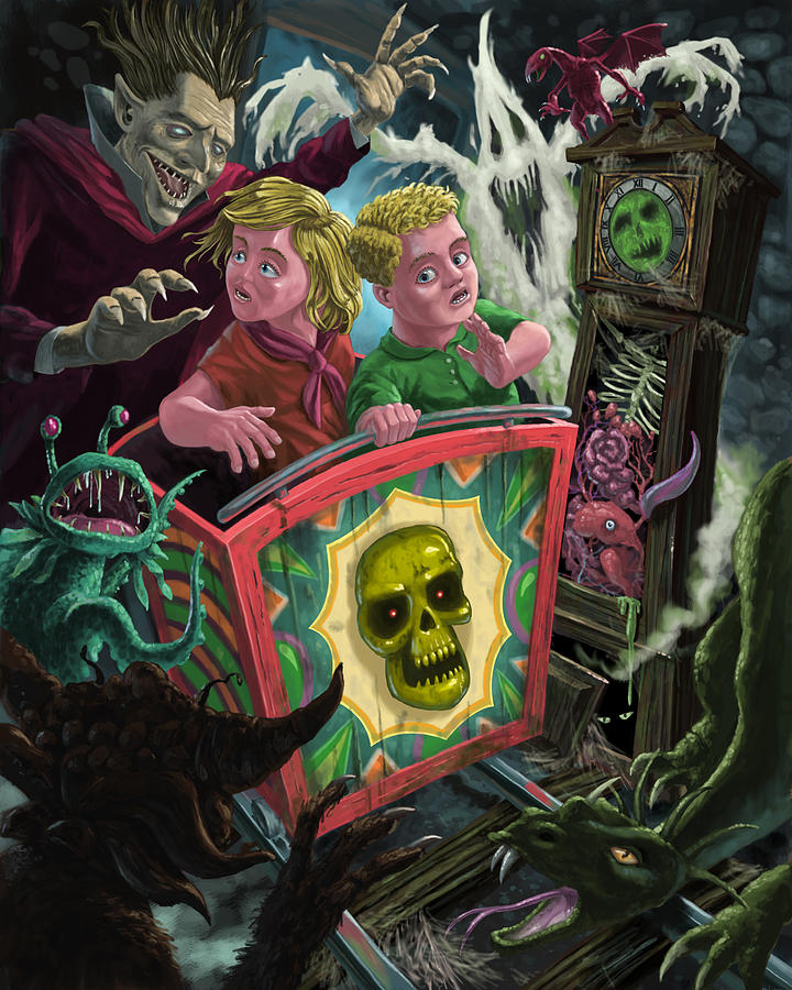 Comic Skull Painting - Ghost Train Fun Fair Kids by Martin Davey