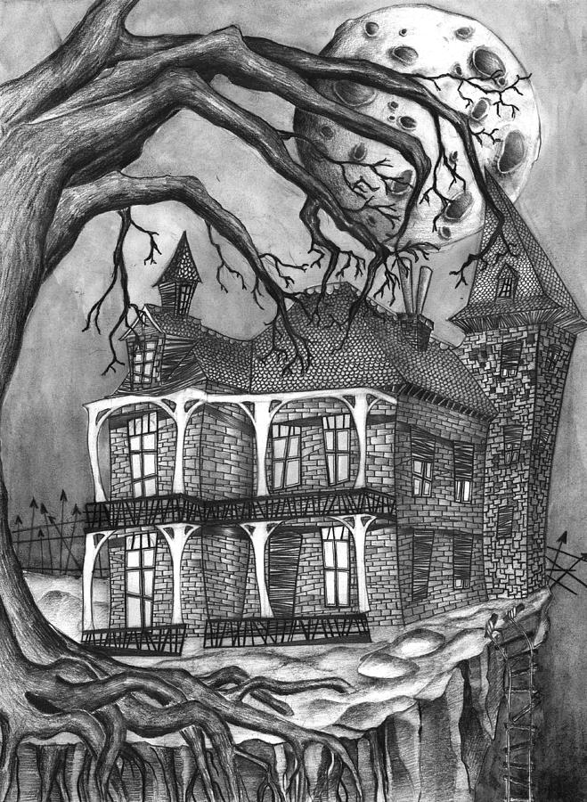 Mansion Drawing: Ghosthouse Drawing By Jody Scheers