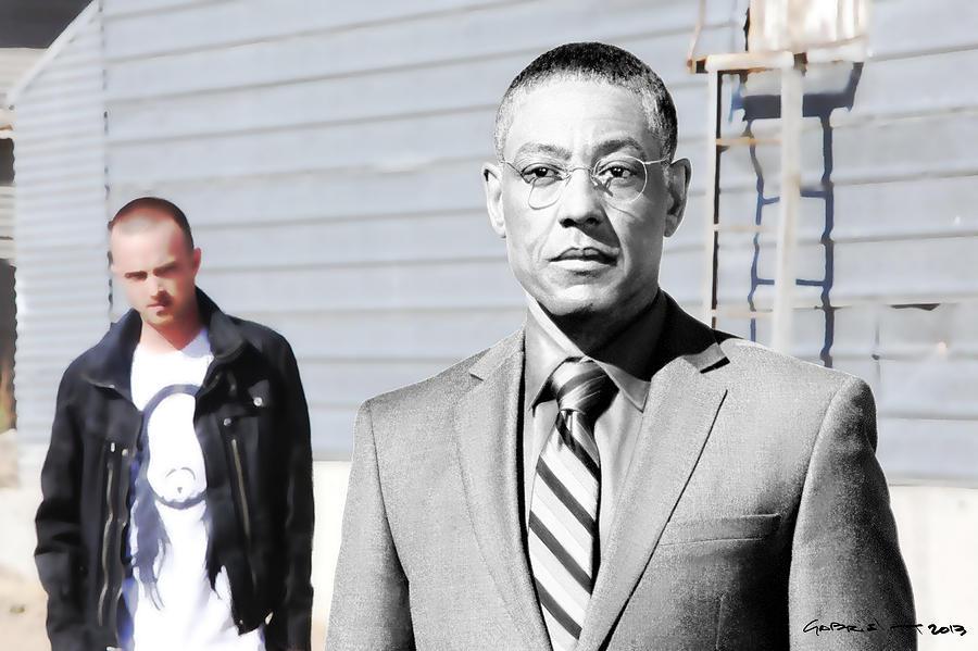 Aaron Paul Digital Art - Giancarlo Esposito as Gustavo Fring and Aaron Paul as Jesse Pinkman @ TV serie  Breaking Bad by Gabriel T Toro