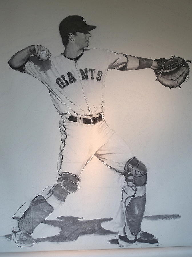 Buster Posey Drawing - Giant Posey by Darren Kerr