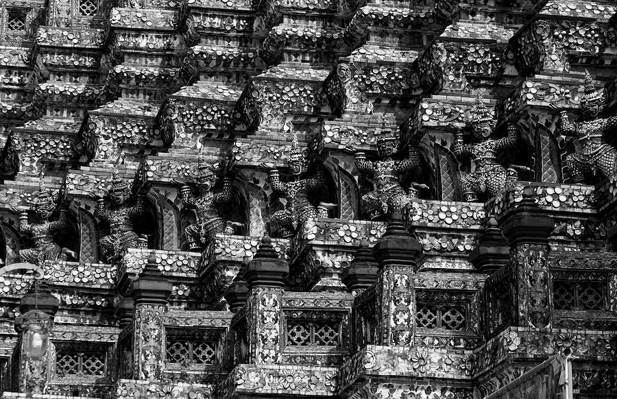 Ancient Photograph - Giant Statues In Wat Arun by Kwankhaow Podjana