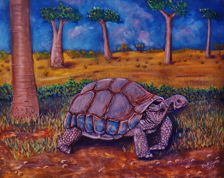 I Saw  This Lumbering Giant At Gator Land Near Orlando Pastel - Giant Tortoise by Richard Goohs