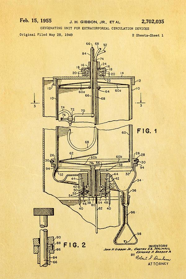 Doctor Photograph - Gibbon Heart-lung Machine Patent Art 1955 by Ian Monk