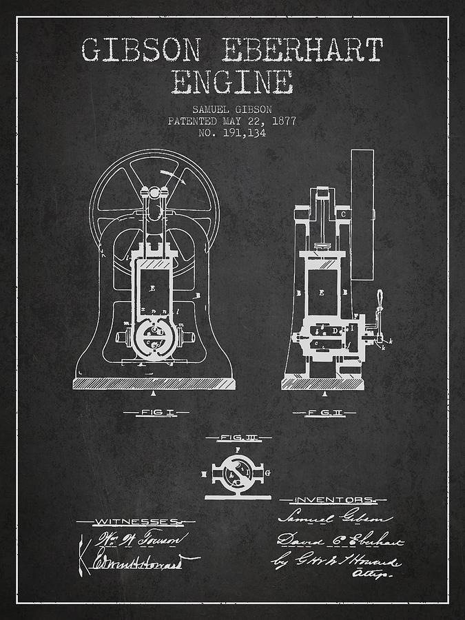 Gibson Eberhart Engine Patent Drawing From 1877- Dark Digital Art