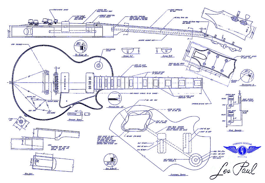 Gibson les paul blueprint drawing drawing by jon neidert les paul blueprint drawing gibson les paul blueprint drawing by jon neidert malvernweather Images