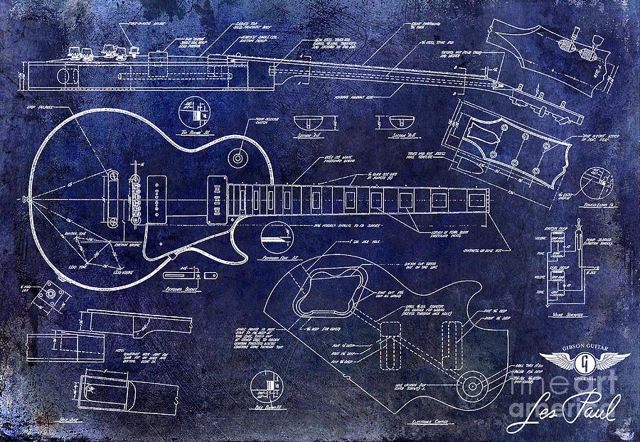 Les Paul Blueprint Drawing - Gibson Les Paul Blueprint by Jon Neidert