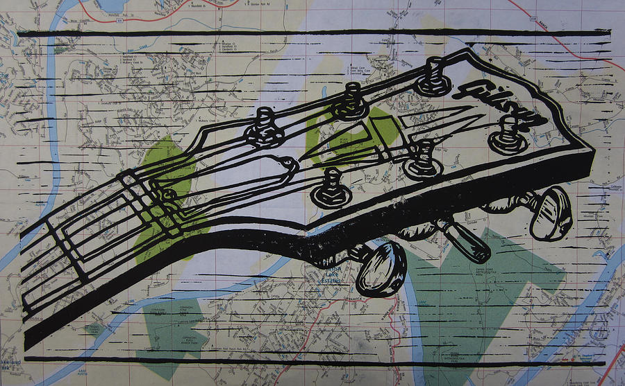 Les Paul Drawing - Gibson on Map by William Cauthern