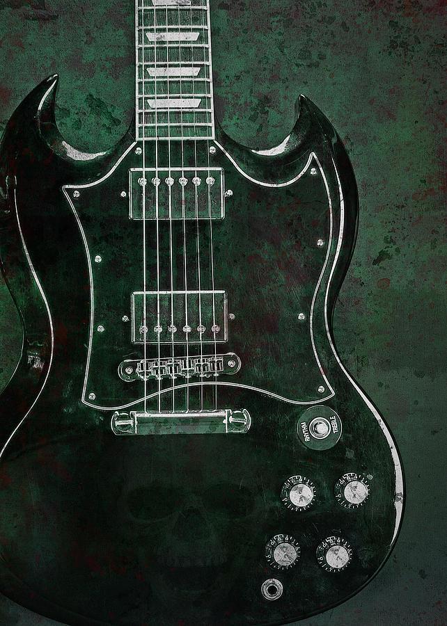 Guitar Photograph - Gibson Sg Standard Green Grunge With Skull by John Cardamone