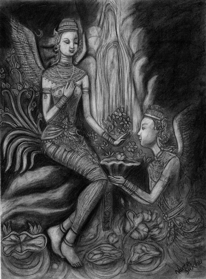 Devotion Drawing - Gift Of Love by Naresh Sukhu