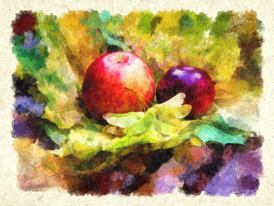 Apples Painting - Gifts Of Autumn by Marina Likholat