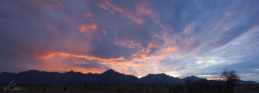 Sunset Photograph - Gila River Indian Sunset Pano by Anthony Citro