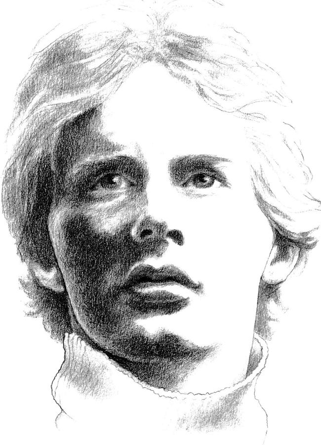 Charcoal Drawing Drawing - Gilles Villeneuve by Diane Fine