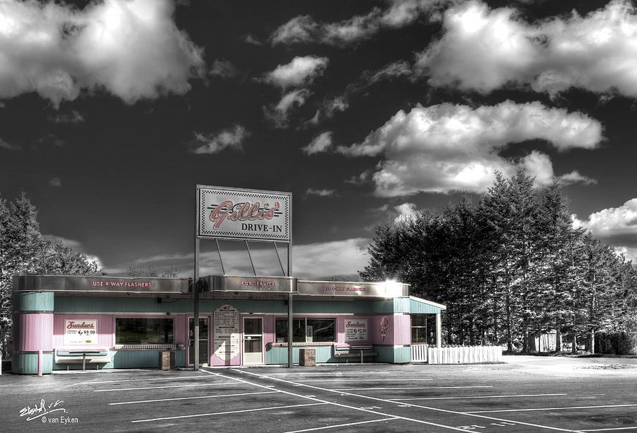 Retro Photograph - Gillis Drive-in by Elisabeth Van Eyken