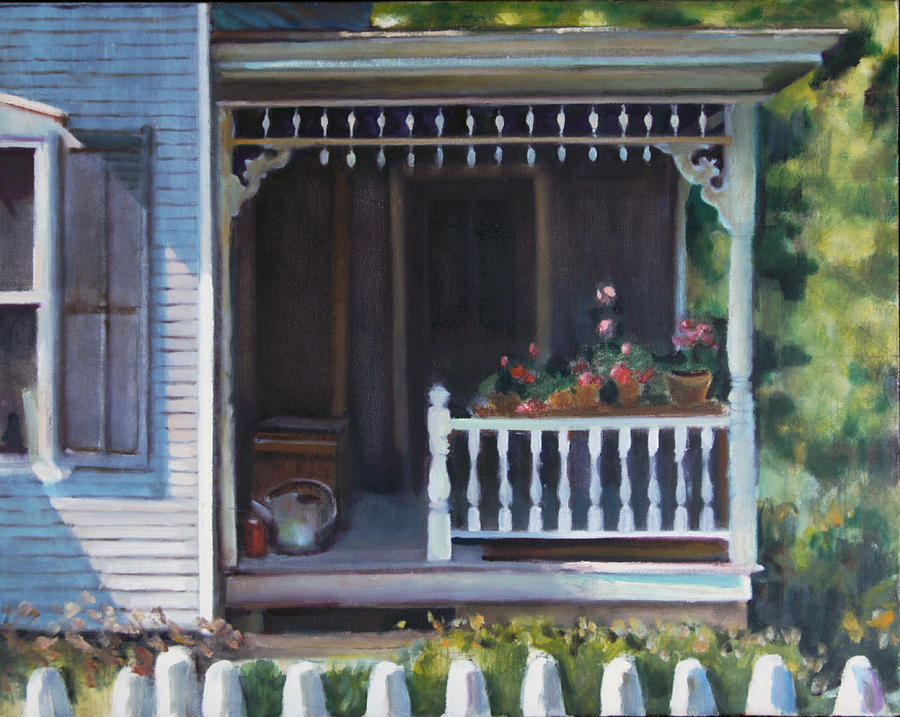 Seen On A 4th Of July In The Small Town Of Warren Painting - Gingerbread Porch Warren Vermont by Pat Percy