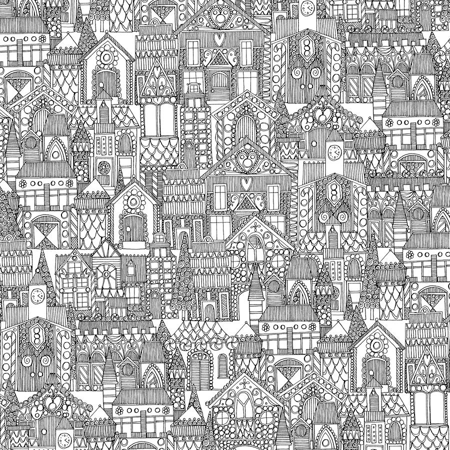Gingerbread Painting - Gingerbread Town Black White by MGL Meiklejohn Graphics Licensing
