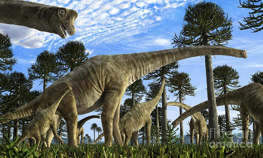 Giraffatitan Digital Art - Giraffatitan Brancai Dinosaurs Grazing by Rodolfo Nogueira
