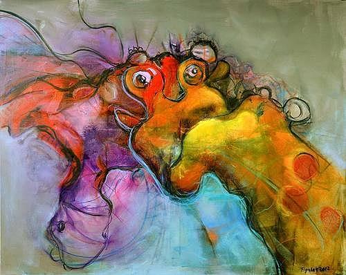 Giraffe Painting - Giraffe And The Dragon by David Figielek