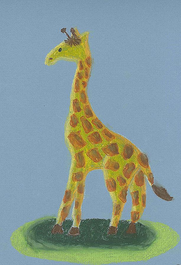 Giraffe Drawing - Giraffe Gazing by Fred Hanna