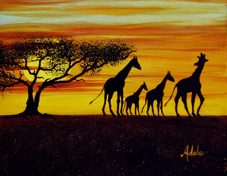 Giraffe Silhouette Painting by Adele Moscaritolo