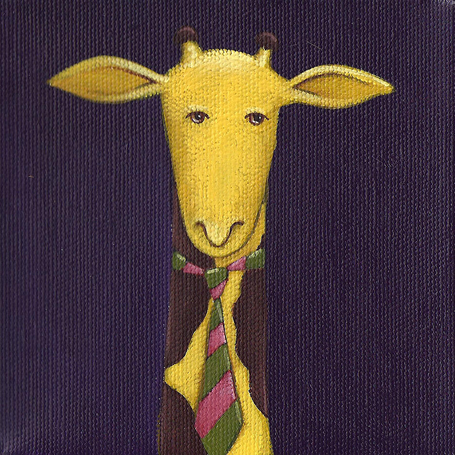 Giraffe Wearing Tie Painting by Christy Beckwith