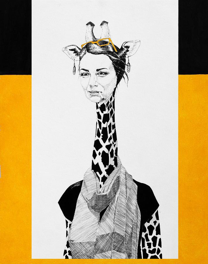 Giraffe Drawing by Zuzana Vass
