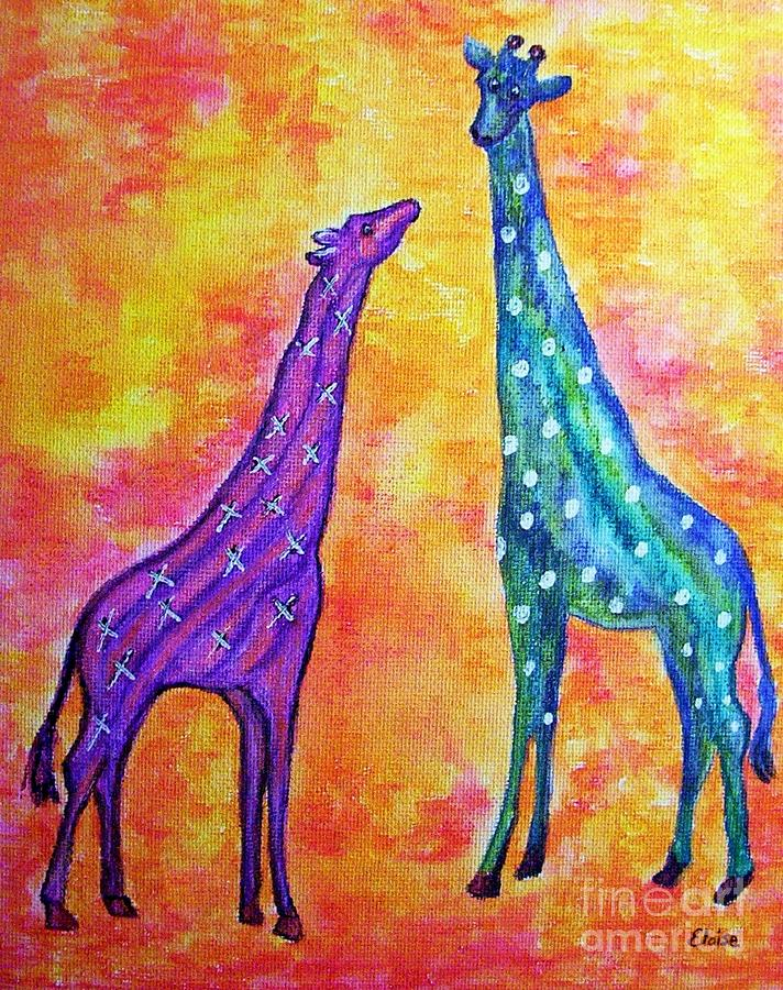Baby Painting - Giraffes With Xs And Os by Eloise Schneider