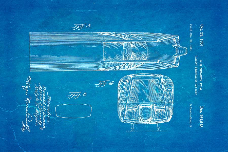 Engineer Photograph - Girardy Railway Observation Car Patent Art  3 1951 Blueprint by Ian Monk