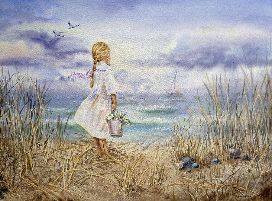 Girl At The Ocean Painting
