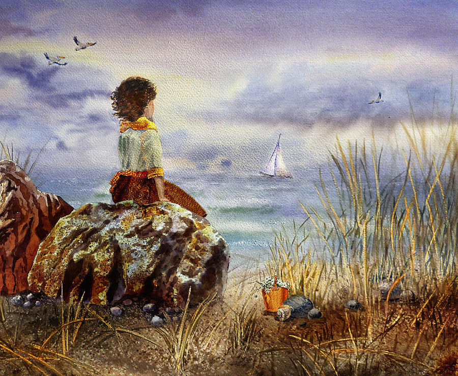 Girl And The Ocean Painting - Girl And The Ocean Sitting On The Rock by Irina Sztukowski