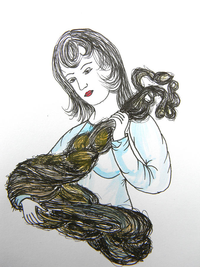 Folk Tales Drawing - Girl And Tow by Marwan George Khoury