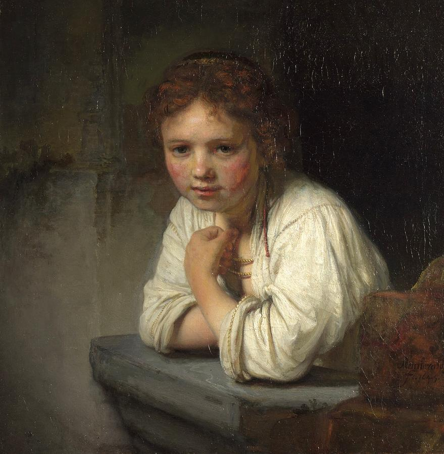 girl at a window painting by rembrandt van rijn