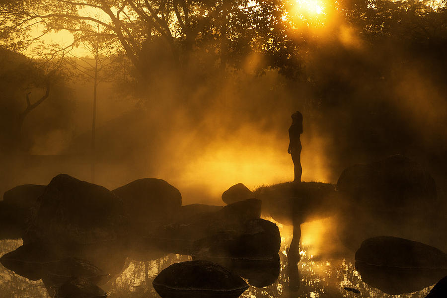 Girl Photograph - Girl At Hotspring by Arthit Somsakul