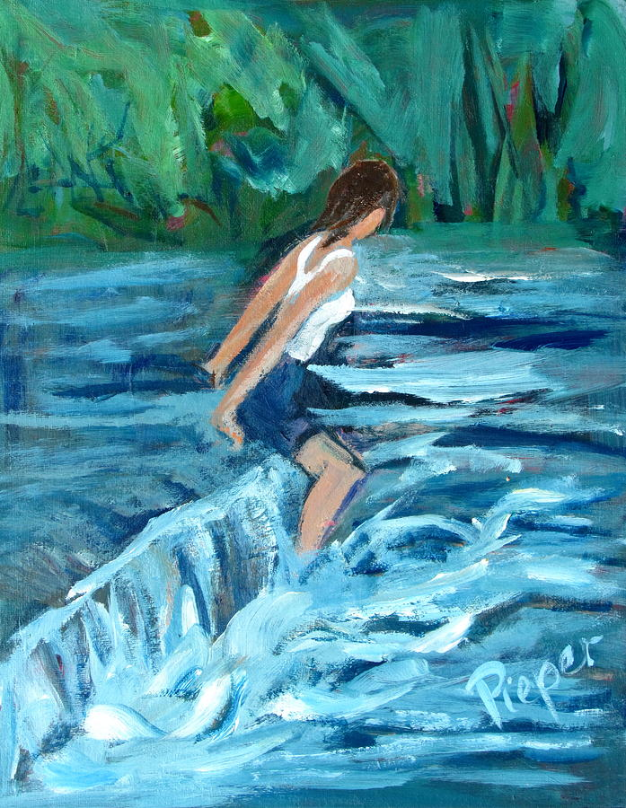 Girl Bathing In River Rapids Painting By Betty Pieper