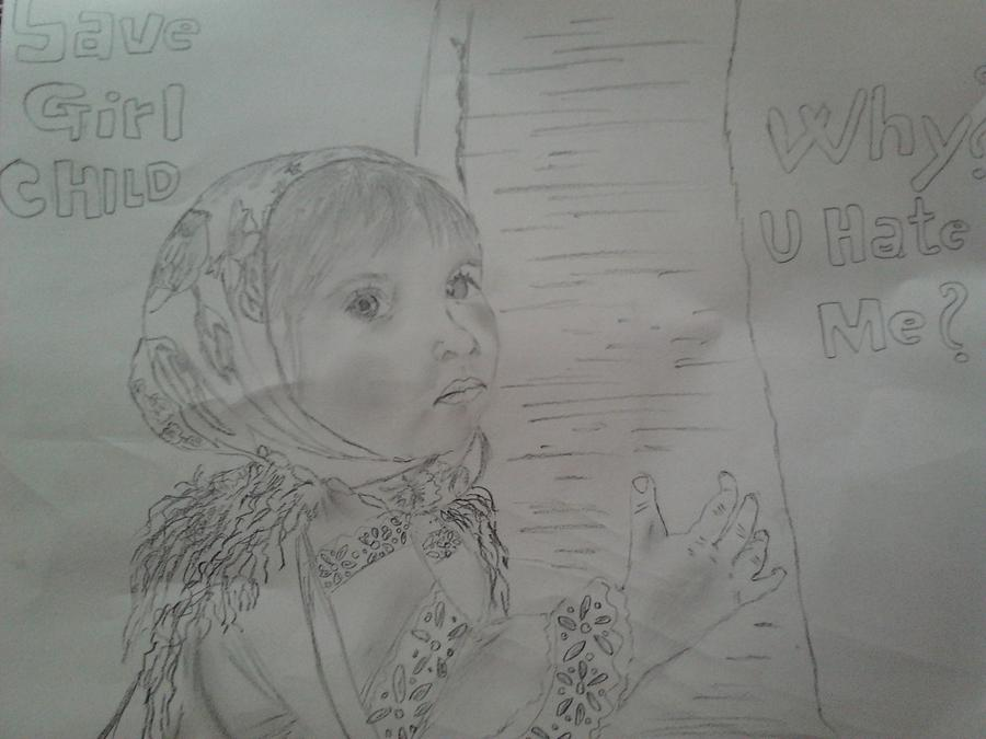 Save girl child drawing girl child by pavan obhan