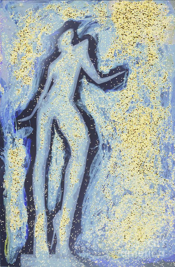 35mm Photograph - Girl Dancing In Swirling Blues And Yellows An Analog Darkoom Photographic Print Painting by Edward Olive