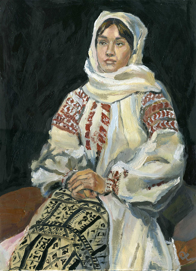 Portrait Painting - Girl In A National Costume by Lelia Sorokina