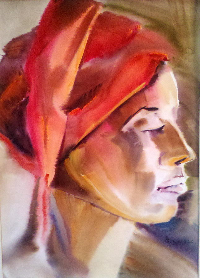 Portrait Painting - Girl In A Red Scarf by Olga Barabanova