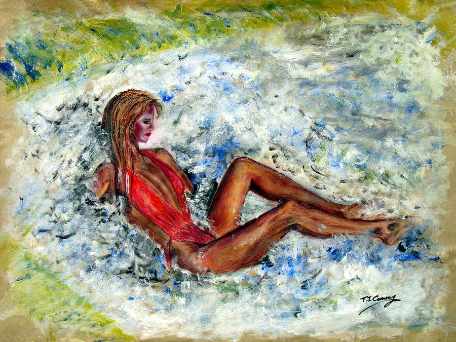 Girl Painting - Girl In A Red Swimsuit by Tom Conway