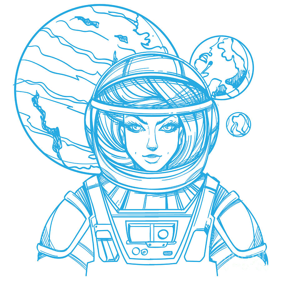 Makeup Digital Art - Girl In A Spacesuit For T-shirt Design by Filkusto